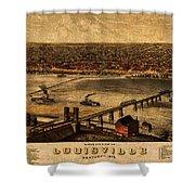 Map Of Louisville Kentucky Vintage Birds Eye View Aerial Schematic On Old Distressed Canvas Shower Curtain