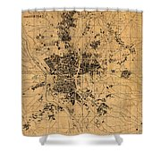 Map Of Madrid Spain Vintage Street Map Schematic Circa 1943 On Old Worn Parchment  Shower Curtain