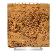 Map Of Minneapolis Minnesota Vintage Birds Eye View Aerial Schematic On Old Distressed Canvas Shower Curtain