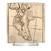 Map Of Monaco 1764 Shower Curtain