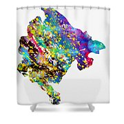 Map Of Montenegro-colorful Shower Curtain