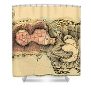 Map Of Montevideo 1808 Shower Curtain