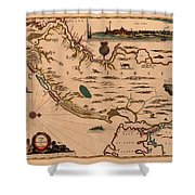 Map Of New Jersey 1672 Shower Curtain