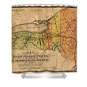Map Of New York State Showing Original Indian Tribe Iroquois Landmarks And Territories Circa 1720 Shower Curtain