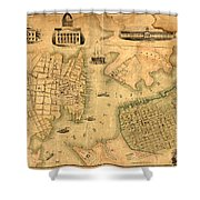 Map Of Norfolk 1851 Shower Curtain
