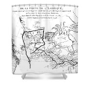 Map Of North America, Plotting The Expeditions Of Sir Alexander Mackenzie In 1789 And 1798 To The Ar Shower Curtain
