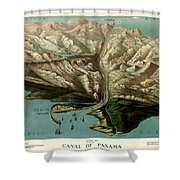 Map Of Panama Canal 1881 Shower Curtain
