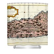 Map Of Saint Lucia 1758 Shower Curtain