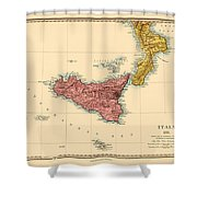 Map Of Sicily 1875 Shower Curtain