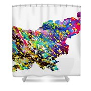 Map Of Slovenia-colorful Shower Curtain
