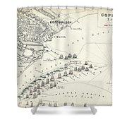 Map Of The Battle Of Copenhagen Shower Curtain
