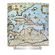 Map Of The Caribbean Islands And The American State Of Florida  Shower Curtain by Theodore de Bry