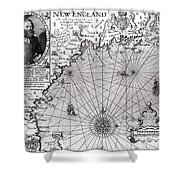 Map Of The Coast Of New England Shower Curtain by Simon de Passe