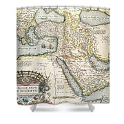 Map Of The Middle East From The Sixteenth Century Shower Curtain by Abraham Ortelius
