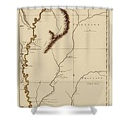 Map Of The Mississippi Riverr 1775 Shower Curtain