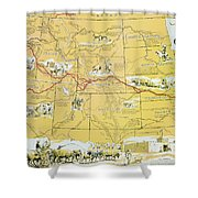 Map Of The Old Oregon Trail Shower Curtain