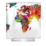 Map Of The World 2 -colorful Abstract Art Shower Curtain by Sharon Cummings