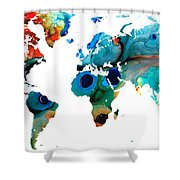 Map Of The World 6 -colorful Abstract Art Shower Curtain