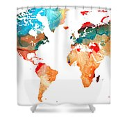 Map Of The World 7 -colorful Abstract Art Shower Curtain