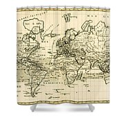 Map Of The World Using The Mercator Projection Shower Curtain