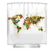 Map Of The World Watercolor Shower Curtain