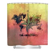 Map Of The World Wind Rose 1 Shower Curtain