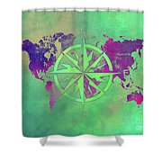 Map Of The World Wind Rose 3 Shower Curtain