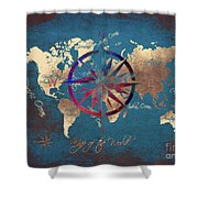 Map Of The World Wind Rose 4 Shower Curtain