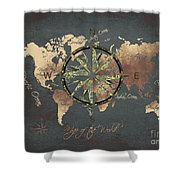 Map Of The World Wind Rose 5 Shower Curtain