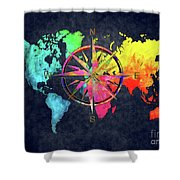 Map Of The World Wind Rose 6 Shower Curtain