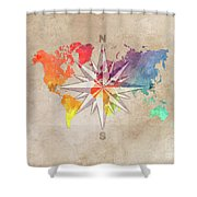 Map Of The World Wind Rose 7 Shower Curtain