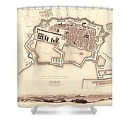 Map Of Toulon 1840 Shower Curtain