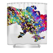 Map Of Ukraine-colorful Shower Curtain