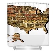 Map Of Usa And Wall. Shower Curtain