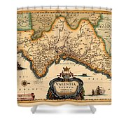 Map Of Valencia 1634 Shower Curtain