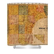 Map Of Wayne County Michigan Detroit Area Vintage Circa 1893 On Worn Distressed Canvas  Shower Curtain