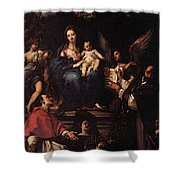 Maratti Carlo Madonna And Child Enthroned With Angels And Saints Shower Curtain