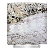 Marble Black Tan Pink Shower Curtain