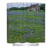 Marble Falls Texas Stone House And Bluebonnets Shower Curtain