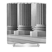 Marble Pillars Building Detail. 3d Illustration Shower Curtain