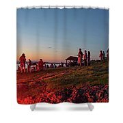 Marblehead Harbor Illumination 2017 Chandler Hovey Lights Lighthouse Shower Curtain