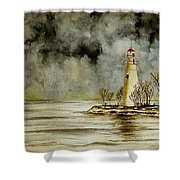 Marblehead Lighthouse In The Winter Shower Curtain