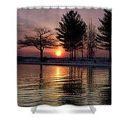 March Sunrise At Detroit Point Shower Curtain