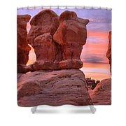 Marching Men Sunset Shower Curtain