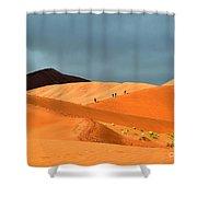 Marching On Sossusvlei Dunes Shower Curtain