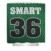 Marcus Smart Boston Celtics Number 36 Retro Vintage Jersey Closeup Graphic Design Shower Curtain