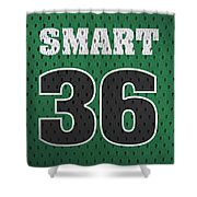 Marcus Smart Boston Celtics Number 36 Retro Vintage Jersey Closeup Graphic Design Shower Curtain