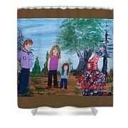 Mardi Gras Beggar And The Children Shower Curtain