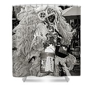 Mardi Gras Indian In Pirates Alley In Black And White Shower Curtain