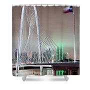 Margaret Hunt Hill Bridge Flag Shower Curtain